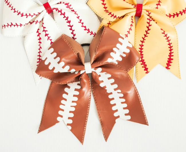 Football print hair bow