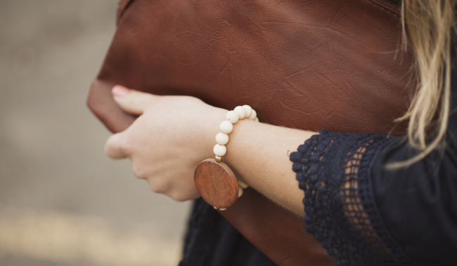 wood bead and wood disc bracelet