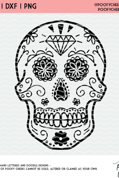 Sugar Skull Halloween Cut File – SVG, DXF and PNG