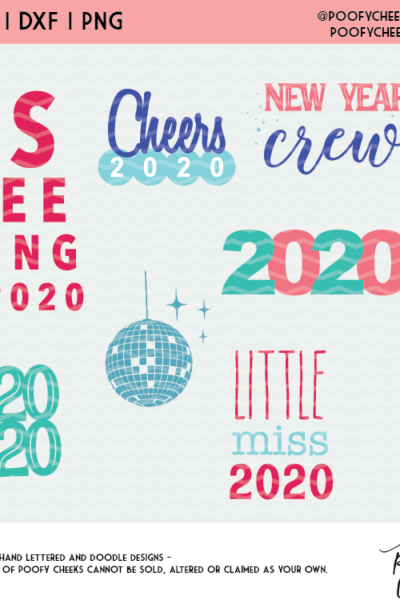 2020 New Year Cut Files – SVG, PNG and DXF for Silhouette and Cricut