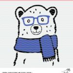 Winter bear cut file digital design. SVG, DXF and PNG