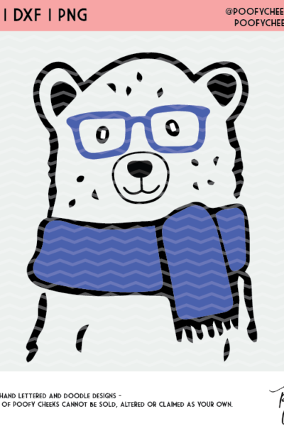 Winter Bear Cut File – SVG, DXF and PNG for Cricut and Silhouette