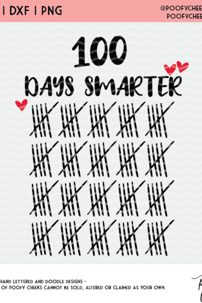 100 Days Smarter Cut File – SVG, DXF and PNG for Silhouette and Cricut
