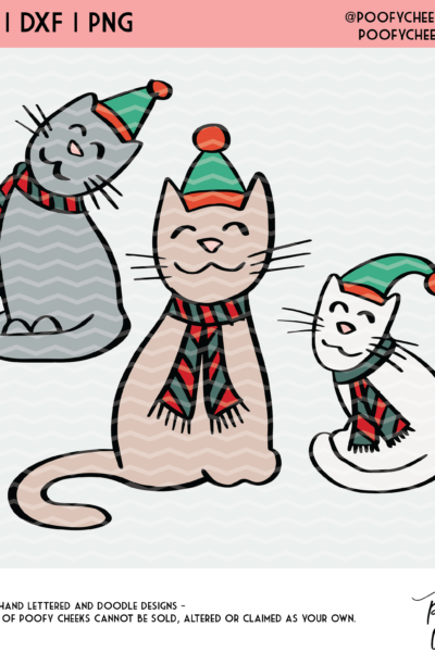 Christmas Cat Cut File – SVG, DXF and PNG – Silhouette and Cricut