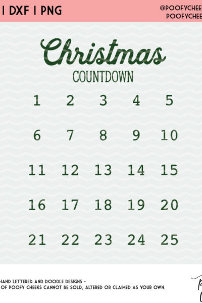 Christmas Countdown Cut File – SVG, DXF, PNG