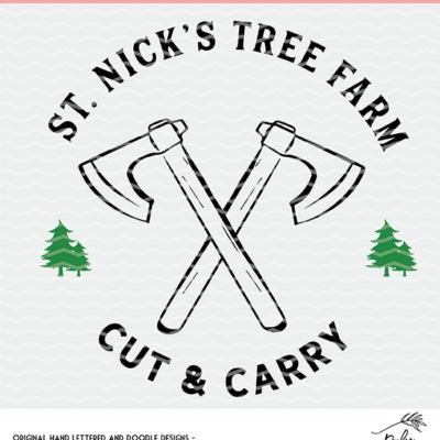 St. Nick's Tree Farm Cut File Clipart Digital Design