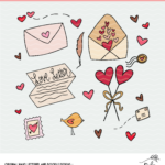 Love Letter Valentine Clipart and Cut File