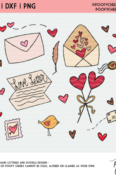 Love Letters Valentine Clipart and Cut Files – SVG, DXF, PNG