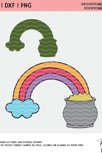 Rainbow Pot of Gold Cut File – Cricut SVG, Silhouette DXF and PNG St.Patrick's Day