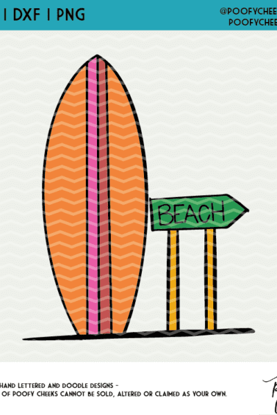 Beach Surfboard Cut File for Silhouette and Cricut – SVG, DXF and PNG