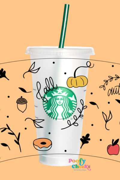 Fall Starbucks Cup Cut File – Cricut and Silhouette Cameo SVG, DXF, PNG
