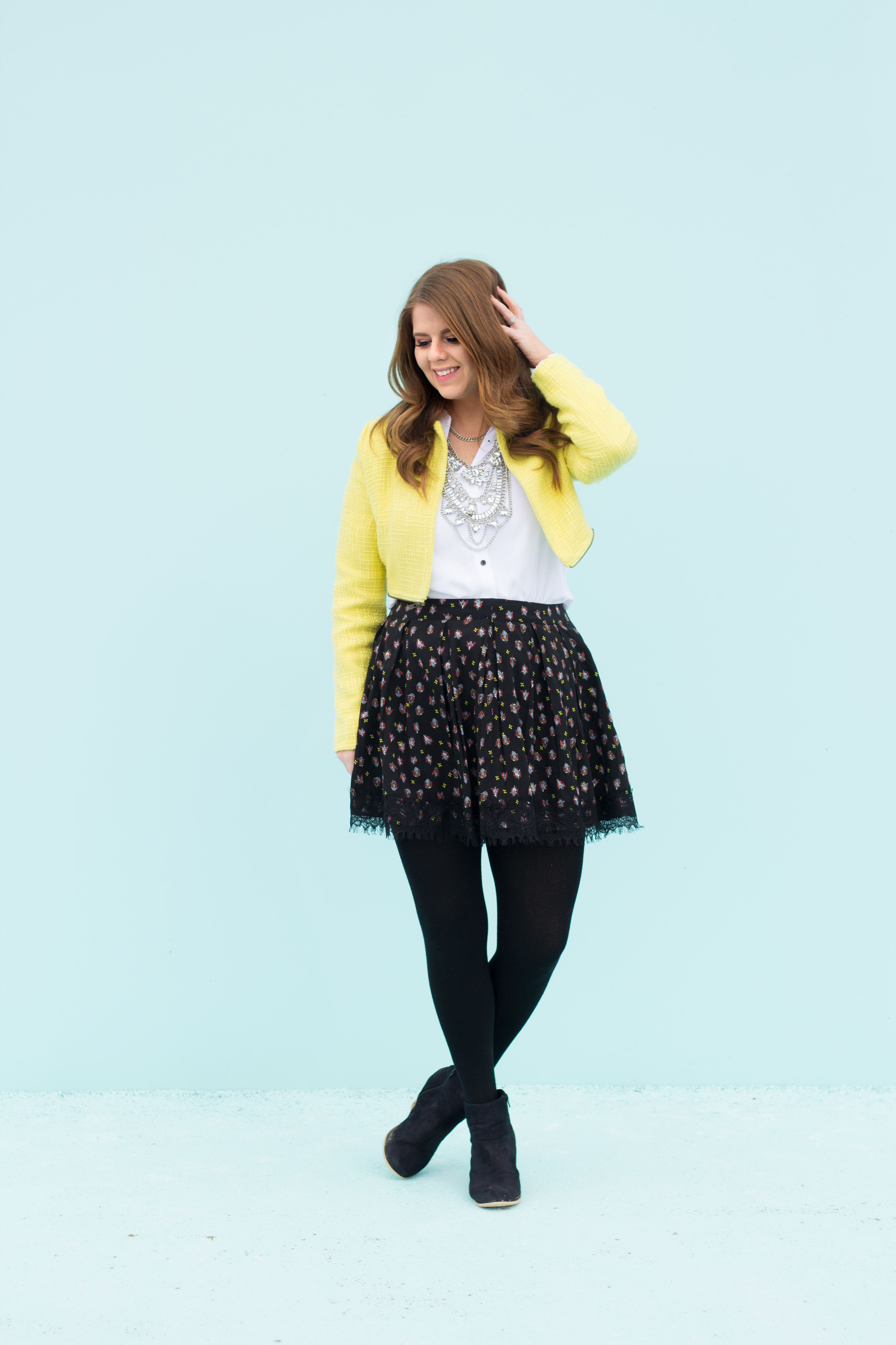 yellow jacket floral skirt