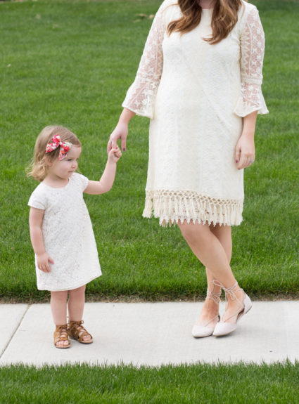 Mommy and Me: Cream Shift Dresses