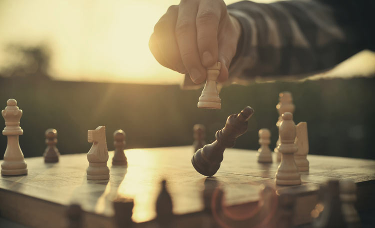 strategic plays on a chess board
