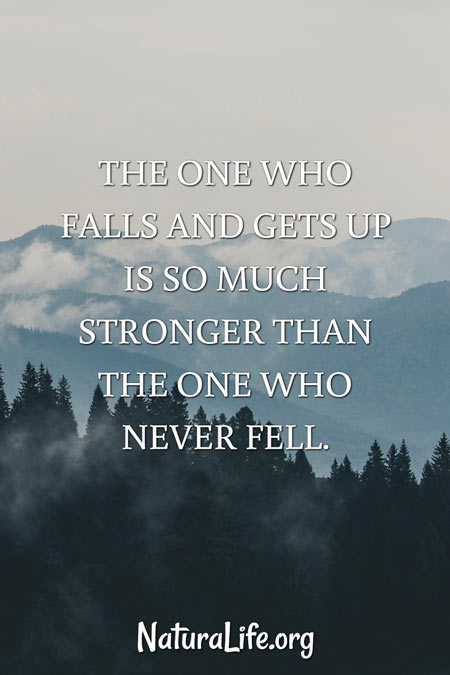 the one who falls and gets up is so much stronger than the one who never fell -- motivational quote