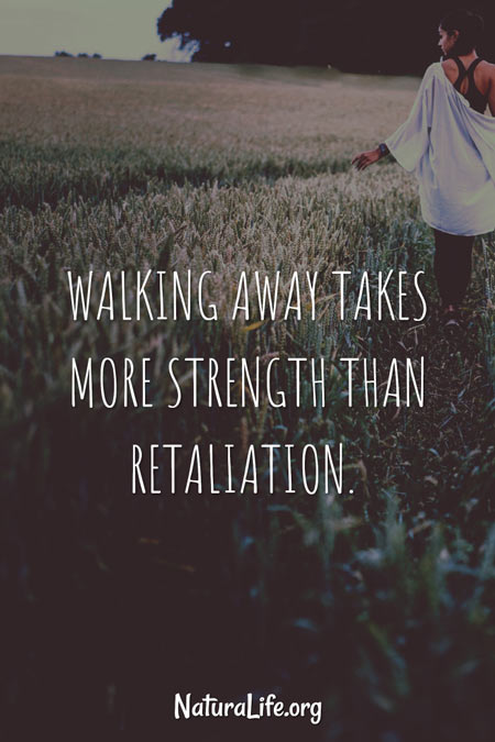 Walking away takes more strength than retaliation. Motivational Quote