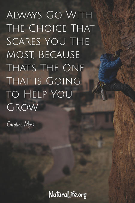 Always Go With the Choice That Scares You The Most, Because That's The One That is Going to Help You Grow. Caroline Myss quote