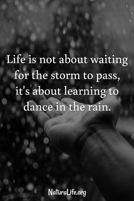 Life is not about waiting for the storm to pass, it's about learning to dance in the rain. Inpsirational quote.