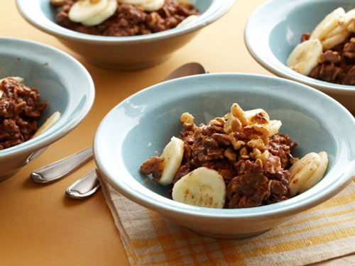 Hot Chocolate Banana Nut oatmeal for breakfast
