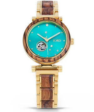Jord Cora Women's wooden watch with gold wristband and a teal faceplate