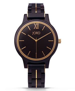 Ebony and Gold Wood watch made by JORD - Frankie Series II