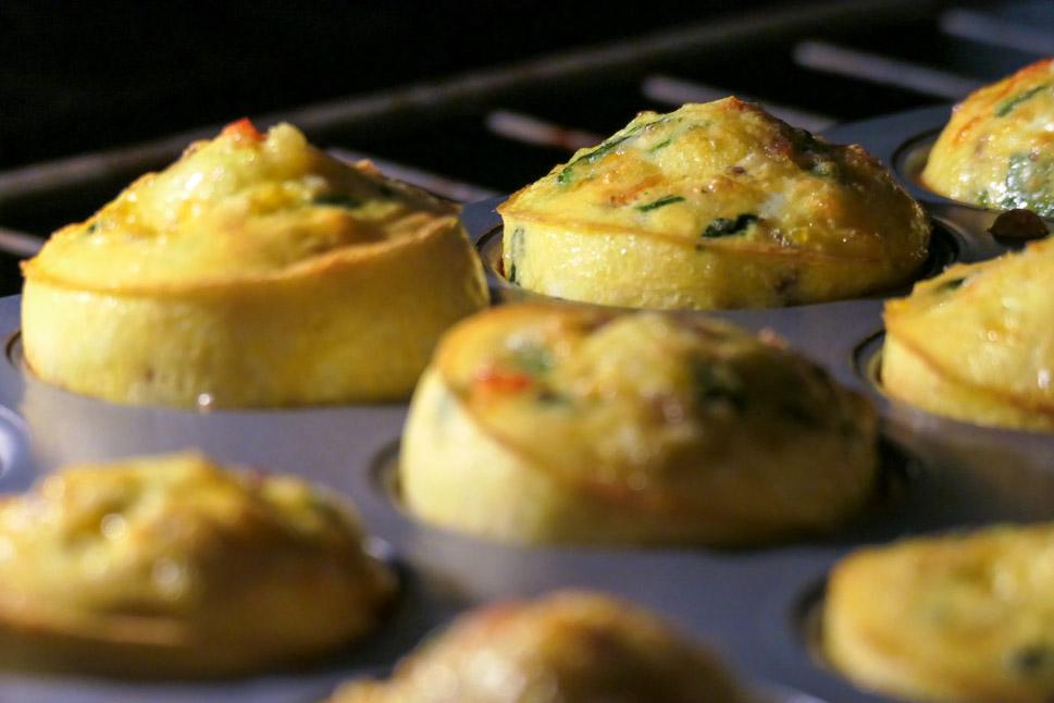 Fritatta Muffins, rising in the oven