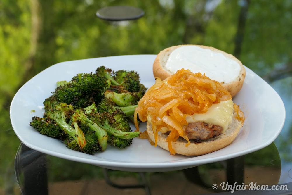 Gouda Pork Burgers with Roasted Broccoli