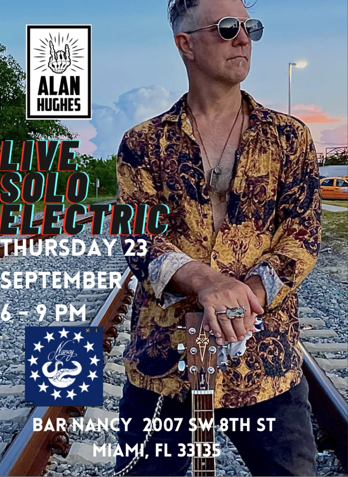 Alan Hughes - Live Solo Electric - Happy Hour at Bar Nancy - September 23 - Time 6pm
