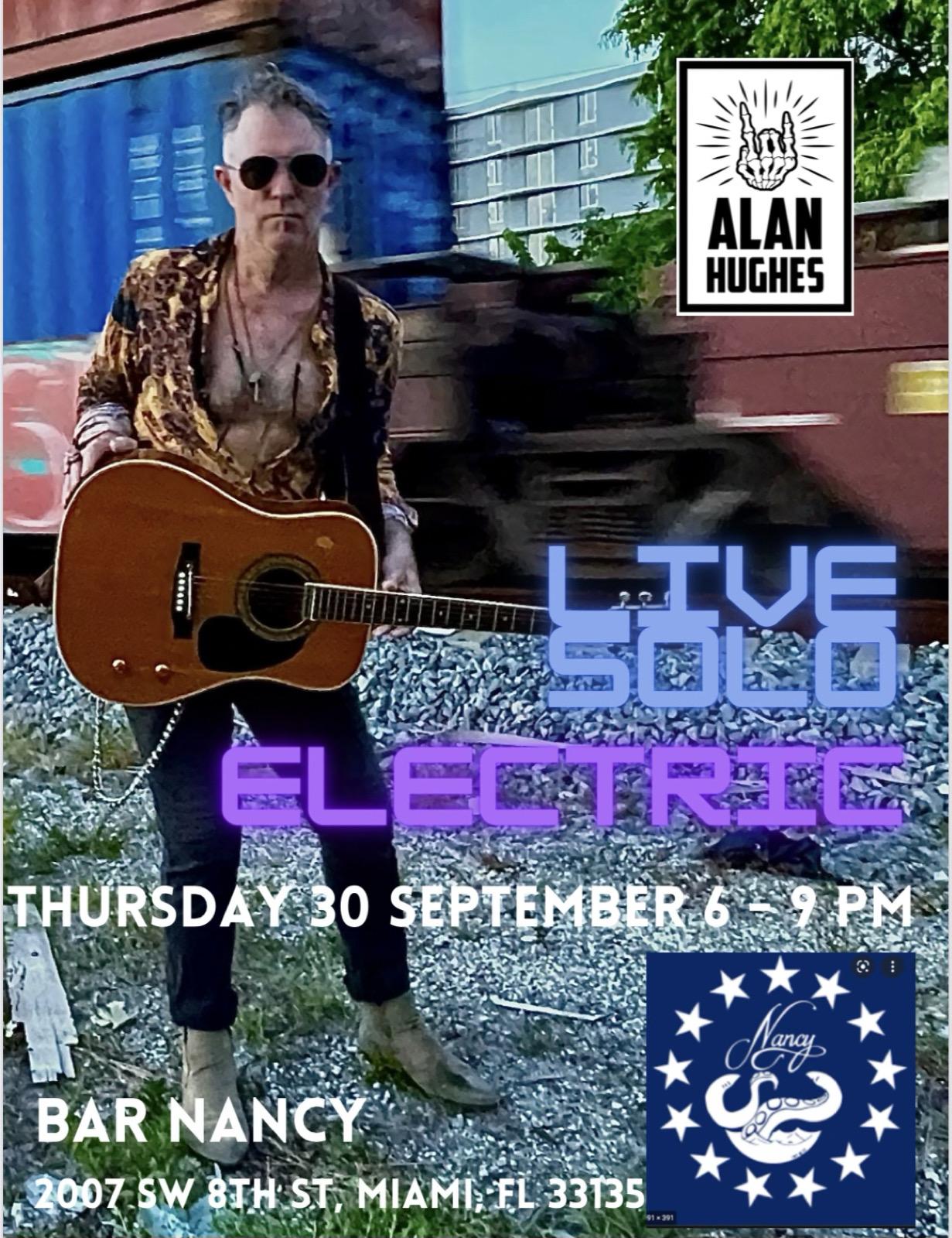Alan Hughes Happy Hour at Bar Nancy - September 30 - Time 6pm