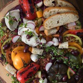 JEC - Heirloom Mediterranean Salad, Burrata Cheese