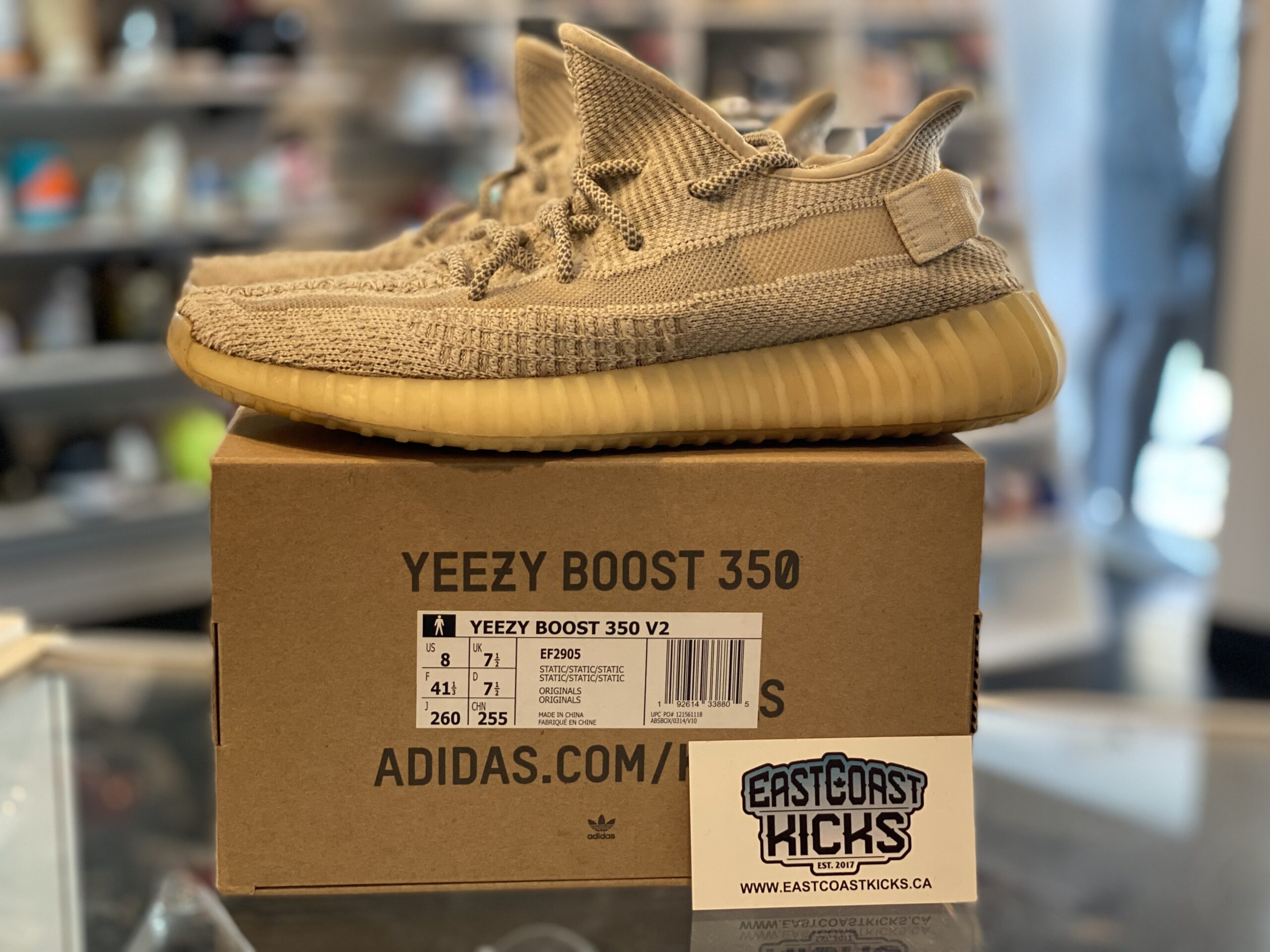 Preowned Adidas Yeezy 350 Static White Size 8