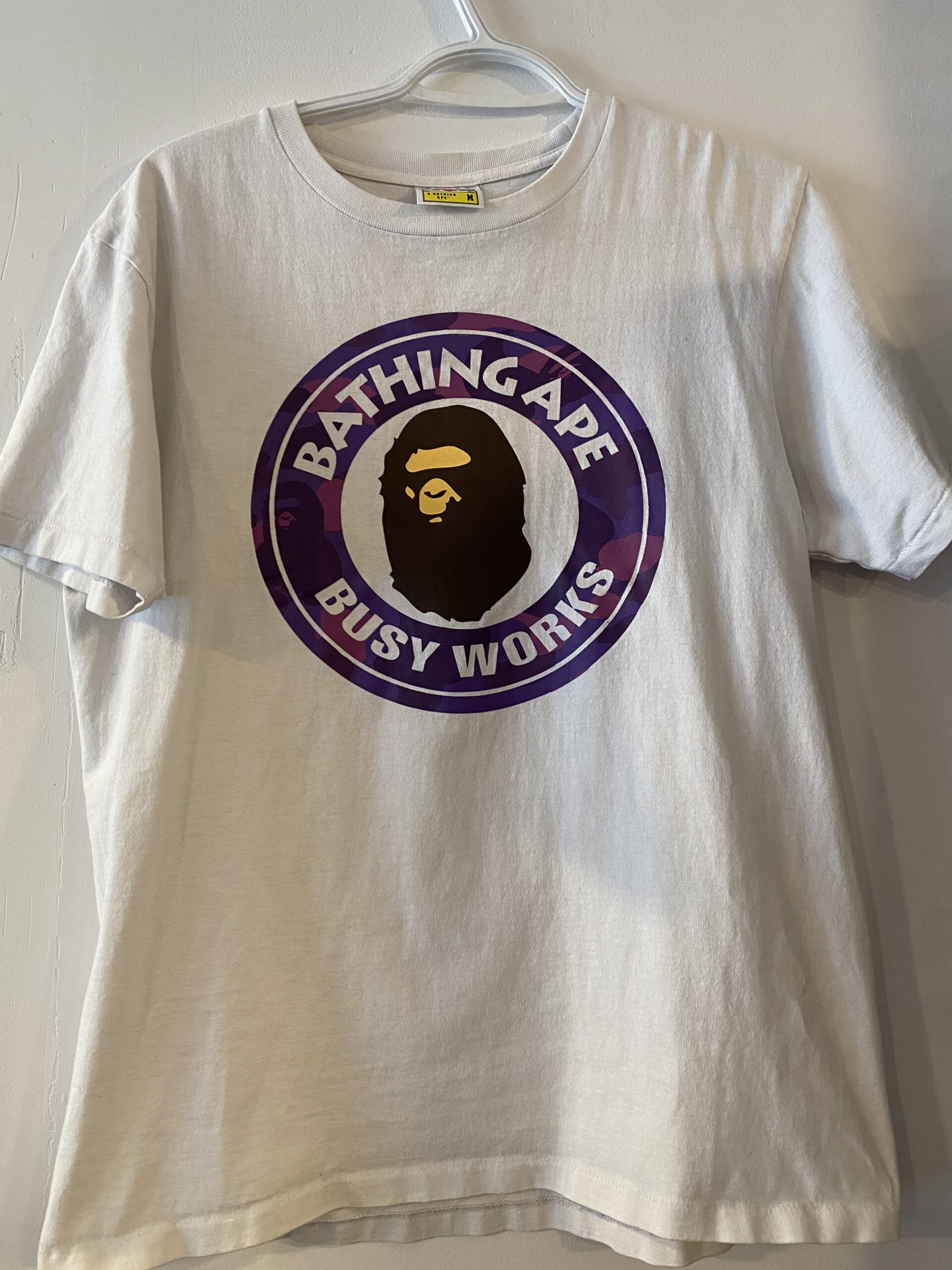 Preowned Bape Colour Camo Busy Works Tee White Purple Size M