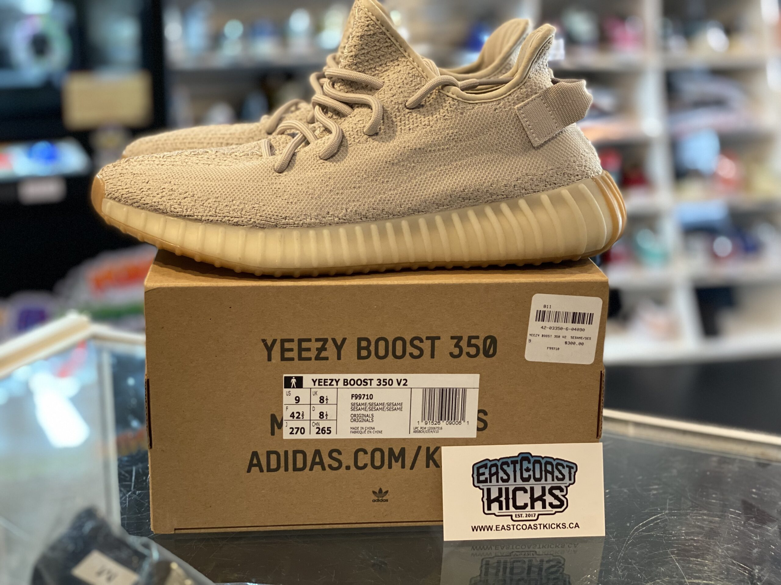 Preowned Adidas Yeezy 350 Sesame Size 9
