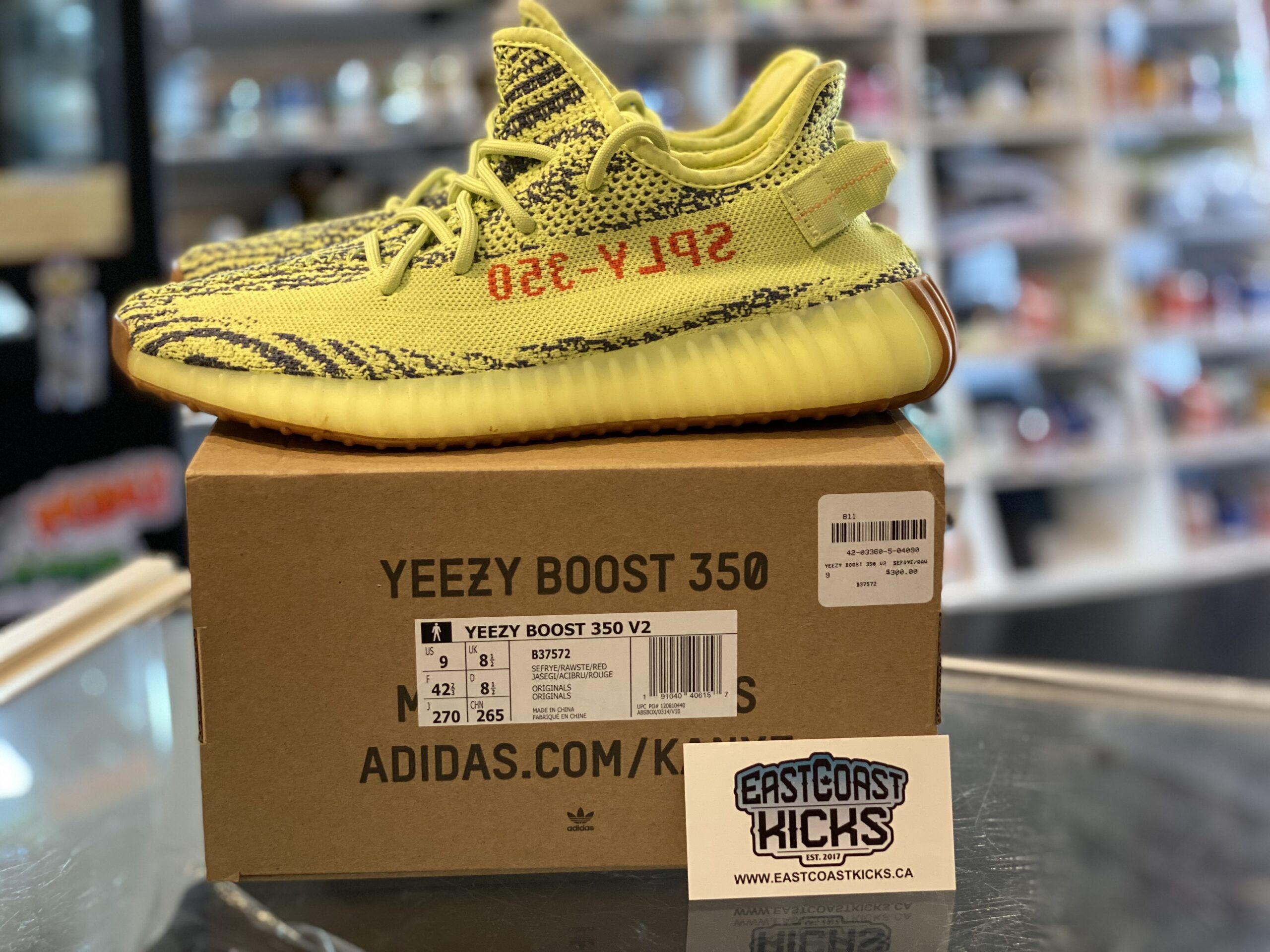 Preowned Adidas Yeezy 350 Frozen Yellow Size 9