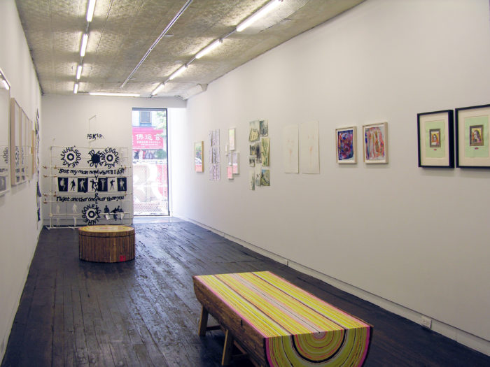 """Installation shot of """"Papered Stories"""" on the ground floor of LMAK gallery."""