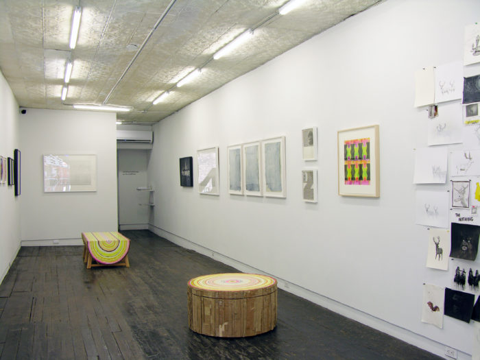 """Installation shot of """"Papered Stories"""" on the ground floor of LMAK gallery"""