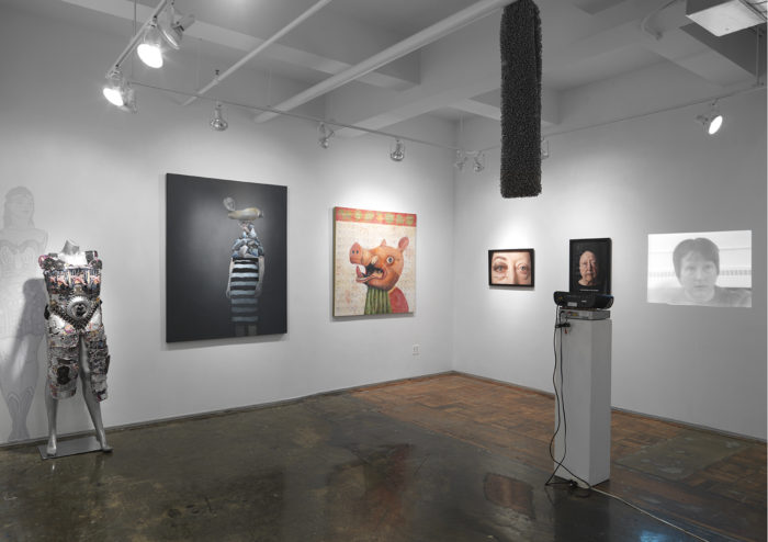 """Installation view of """"Celebrating Women with Overlap: Life Tapestries"""" at A.I.R. Gallery curated by Vida Sabbaghi"""