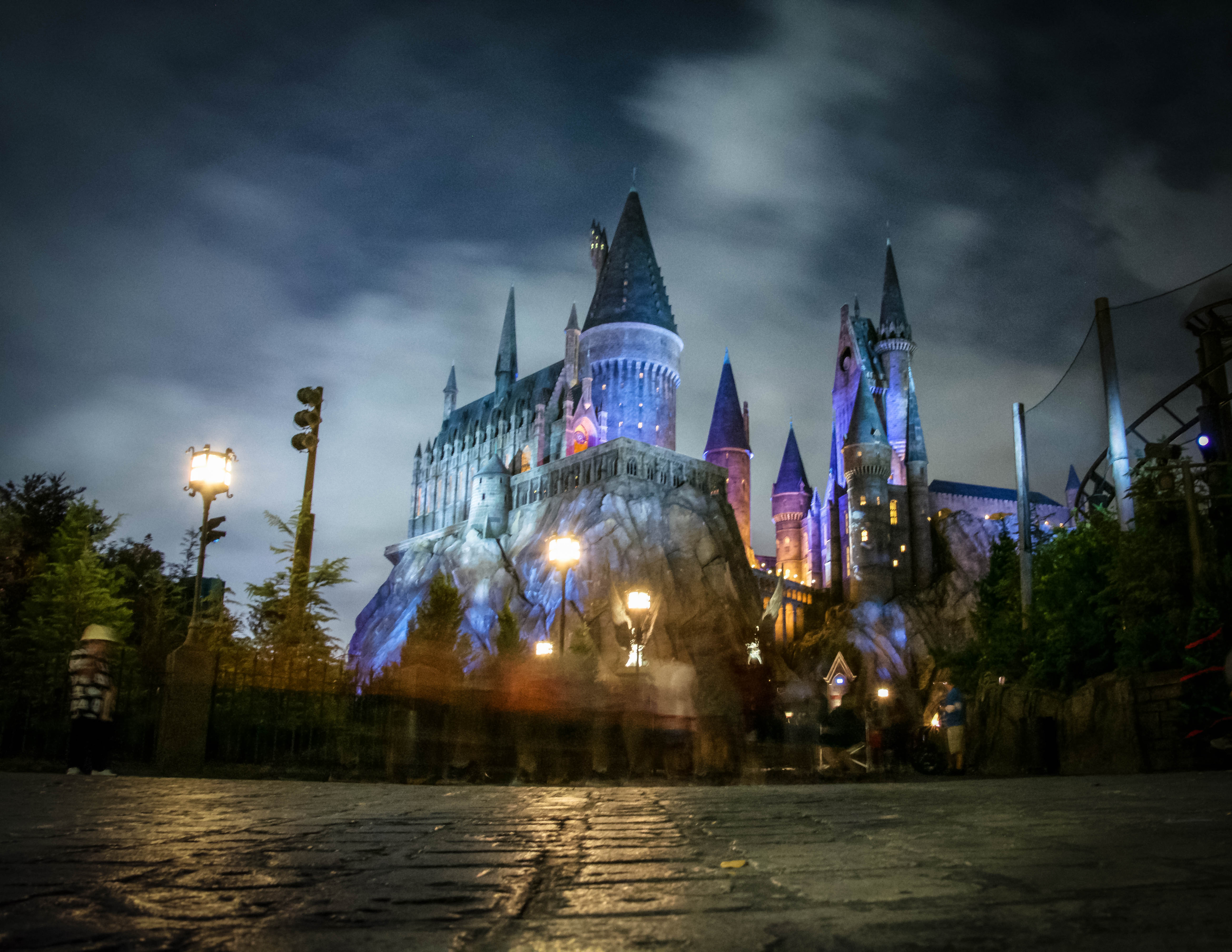Hogwarts at night in the Wizarding World