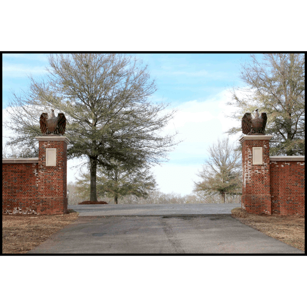 photo of two bronze eagle sculptures atop brick gateway posts