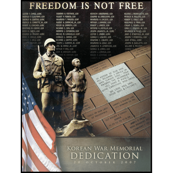 scan of dedication booklet cover with photo of bronze-colored sculpture of American male soldier and Korean boy posed on natural-looking rock, American flag, donation bricks, and columns of names