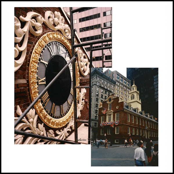 collage of two photos, one of closeup of clock with surrounding ornament, one of Boston Old State House, a brick building with off-white tower