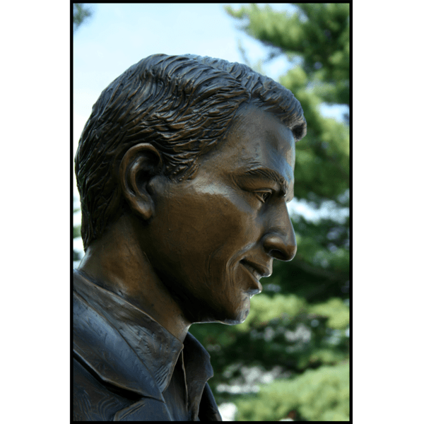 photo closeup of face in profile from bronze statue of Paramaz Avedisian with trees behind