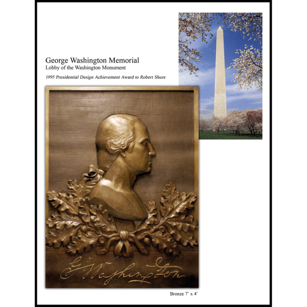 collage of photo of bronze relief portrait of George Washington in profile and photo of the Washington Monument in DC