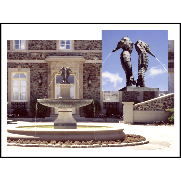 collage of two photos of granite fountain topped with bronze sculpture of two seahorses spouting water in front of a brick house and detail of the seahorses