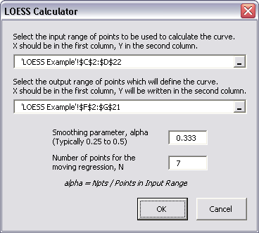 Dialog for LOESS Utility