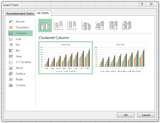 All Charts dialog new to Excel 2013