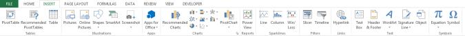 Insert tab on Excel 2013 ribbon