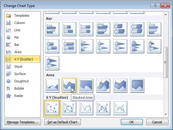 Excel 2013 Change Chart Type Dialog