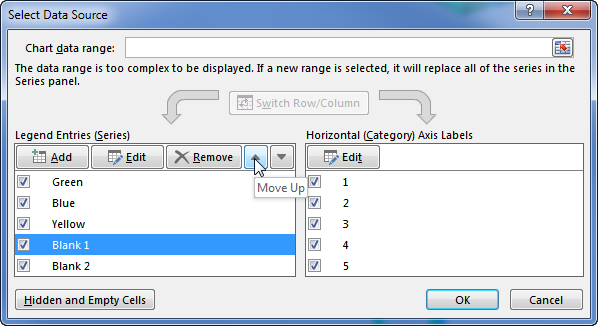 Reorder Series in the Select Data Source Dialog