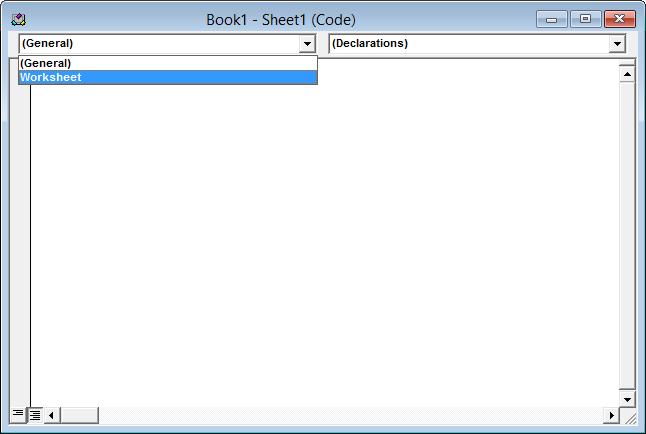Worksheet code module - Objects dropdown
